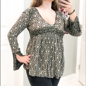Free People Deep V Neck Tunic Open Back Green XS